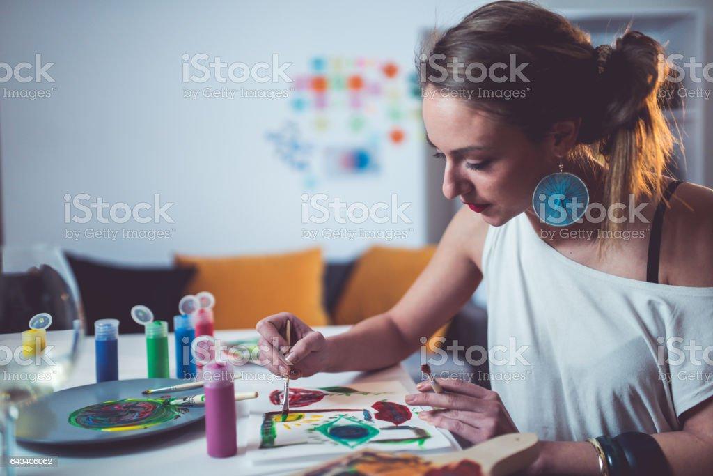 Enjoying my work and a hobbie stock photo