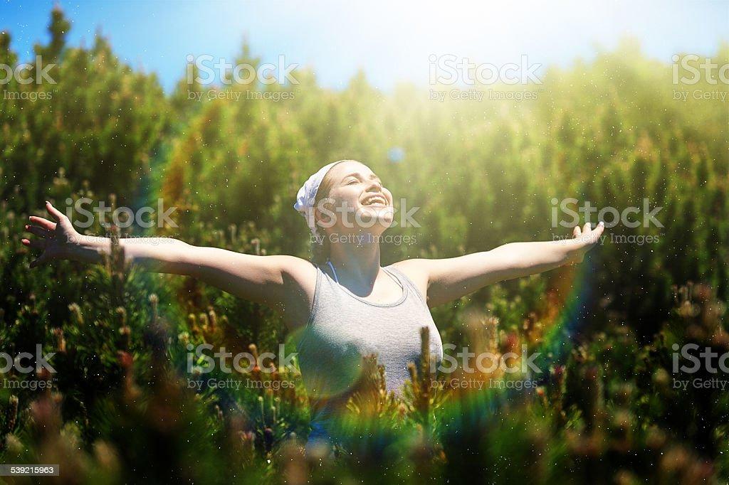 enjoying nature stock photo