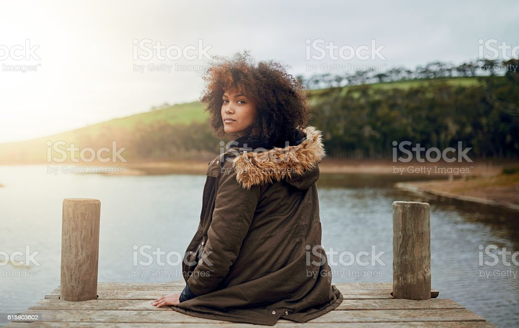 Enjoying nature's quiet stock photo