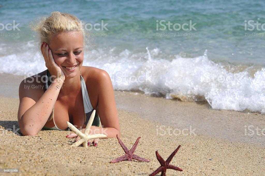 Enjoying on the beach stock photo
