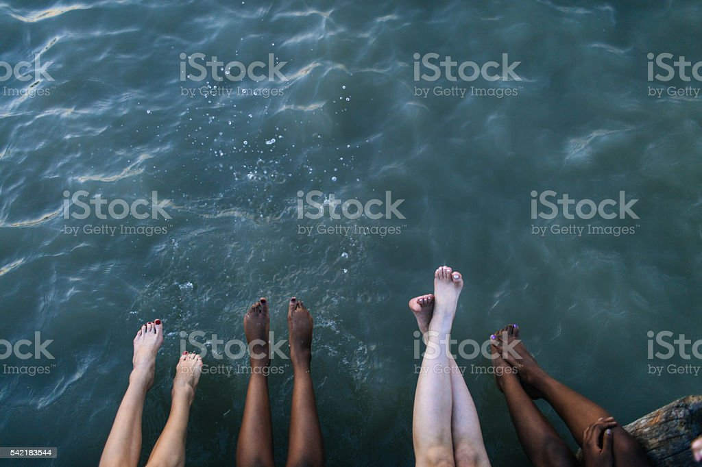Enjoying on the dock stock photo