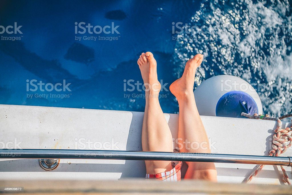 Enjoying on the sea stock photo