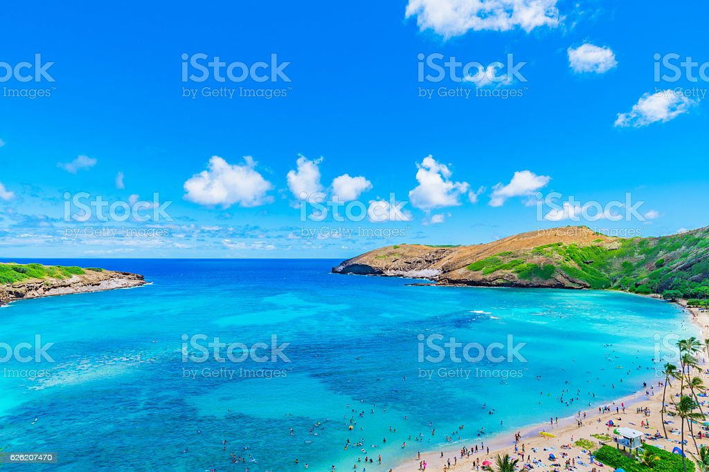 Enjoying Paradise in Hawaii at Hanauma Bay stock photo