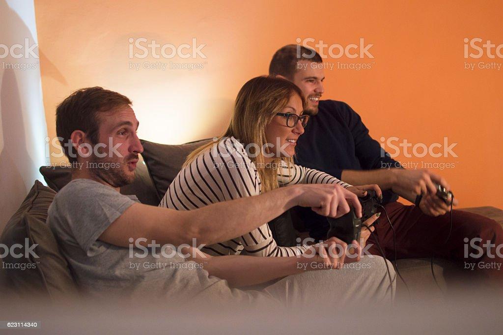 Enjoying playing games stock photo