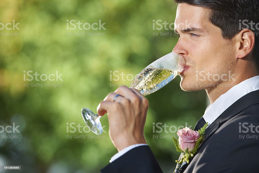 Enjoying quiet drink at the reception royalty-free stock photo