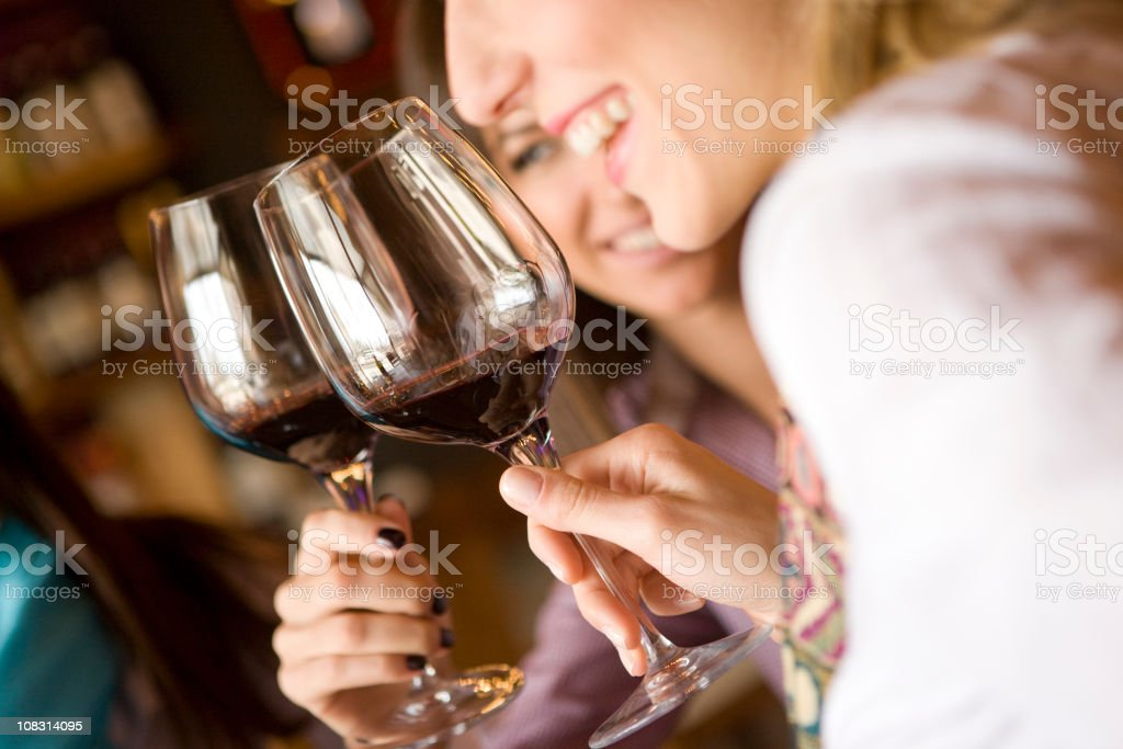Enjoying red wine royalty-free stock photo