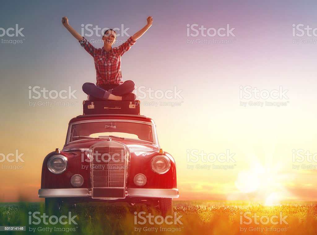 enjoying road trip stock photo