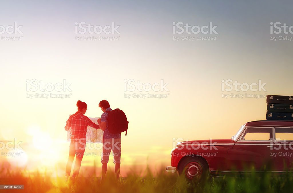 enjoying road trip stock photo