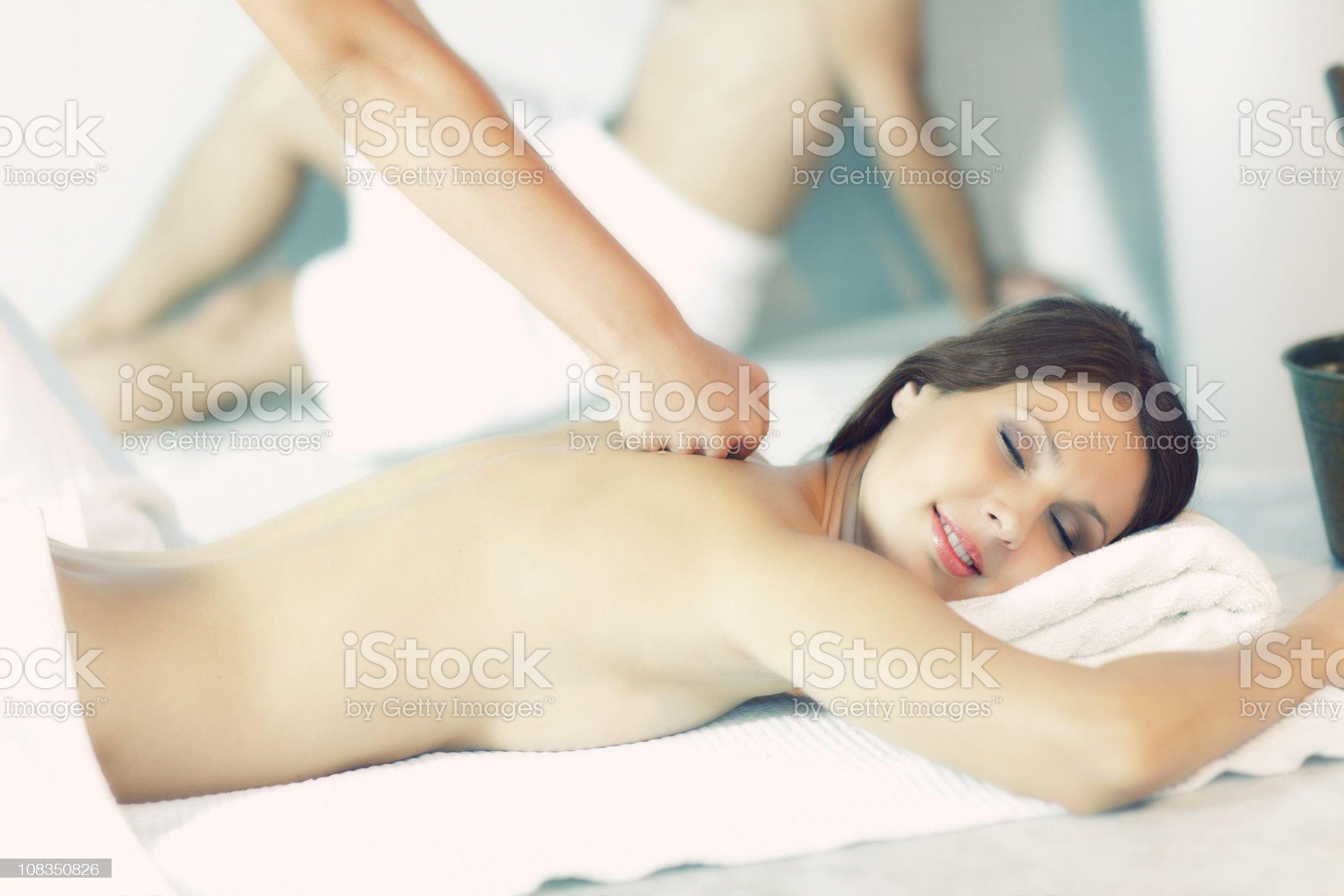 enjoying sauna and masage royalty-free stock photo