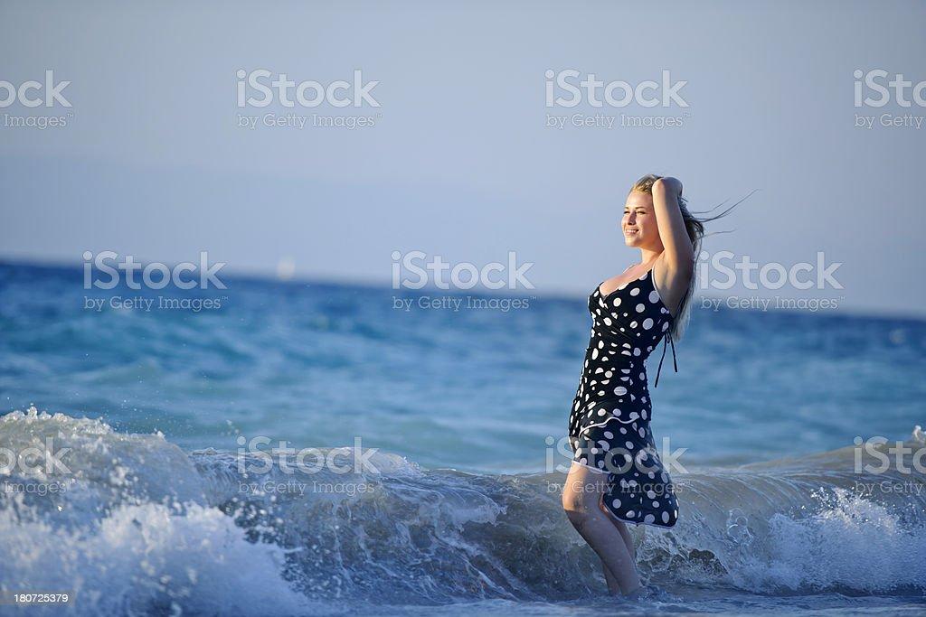 enjoying sea sunset royalty-free stock photo