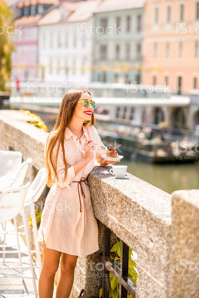 Enjoying slovenian cake in the center of Ljubljana city stock photo