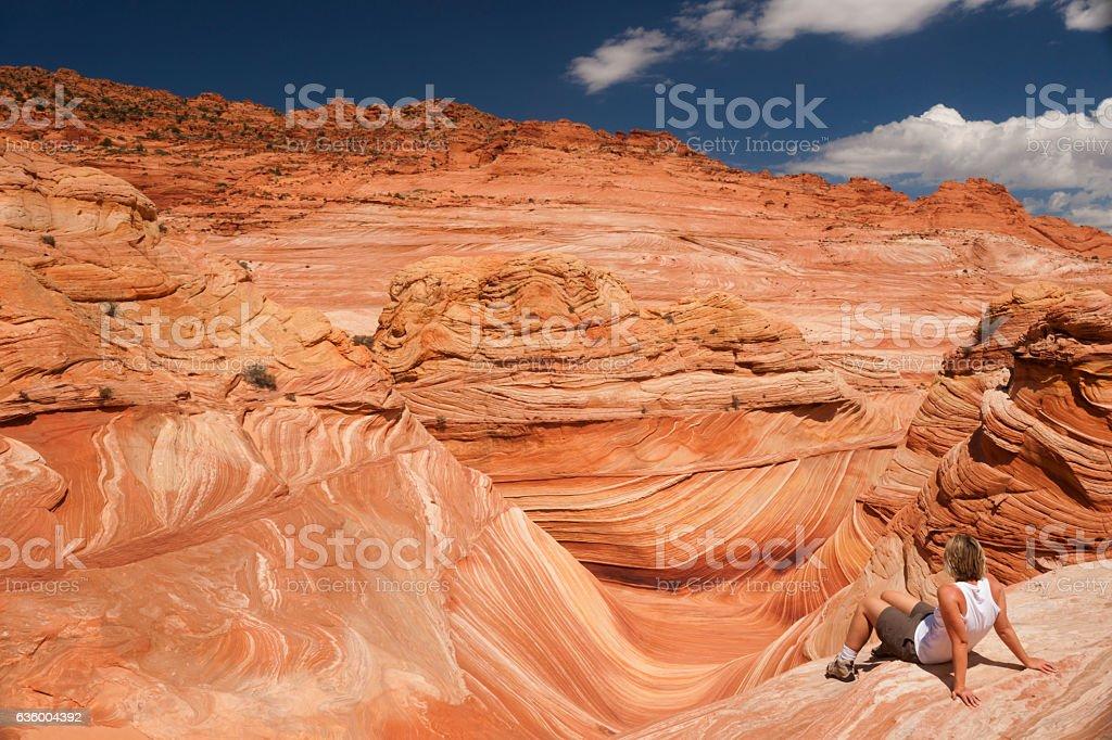 Enjoying solitude at the Wave stock photo
