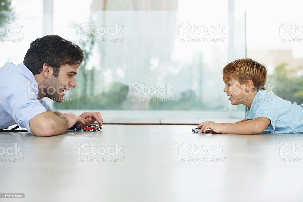 Enjoying some father-son time stock photo