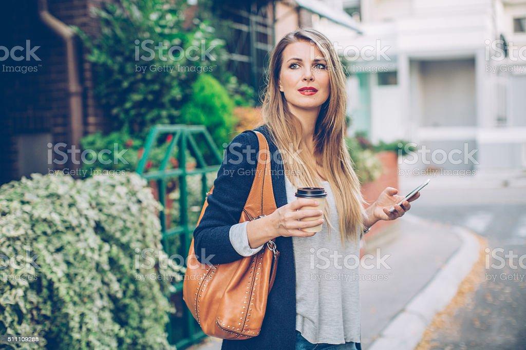 Enjoying some refreshing coffee stock photo