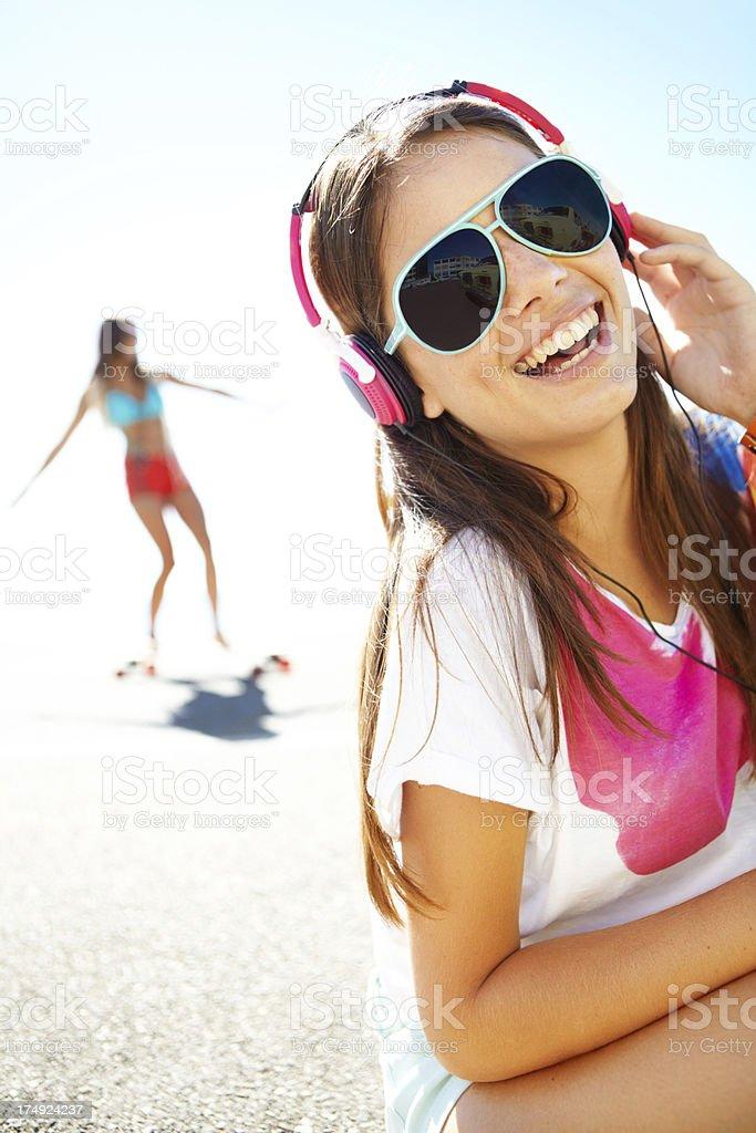 Enjoying some summer songs royalty-free stock photo
