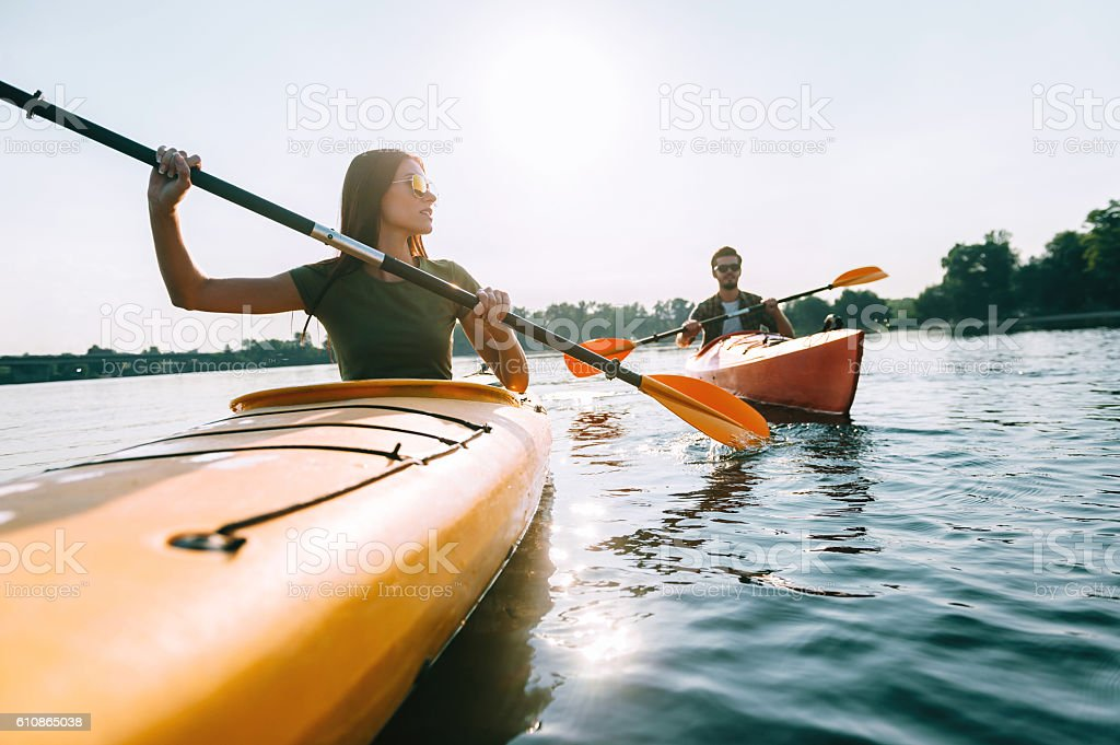 Enjoying summer day on the lake. stock photo