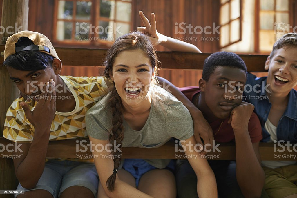 Enjoying summer laughs with friends stock photo