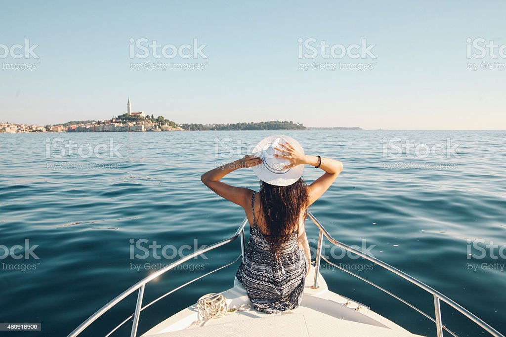 Enjoying summer on the Croatian seaside stock photo