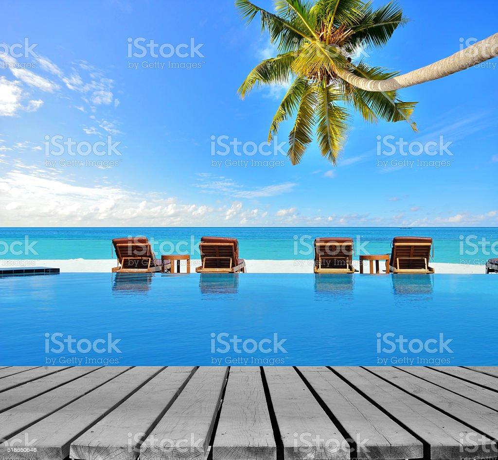 Enjoying sun at the tropical beach stock photo