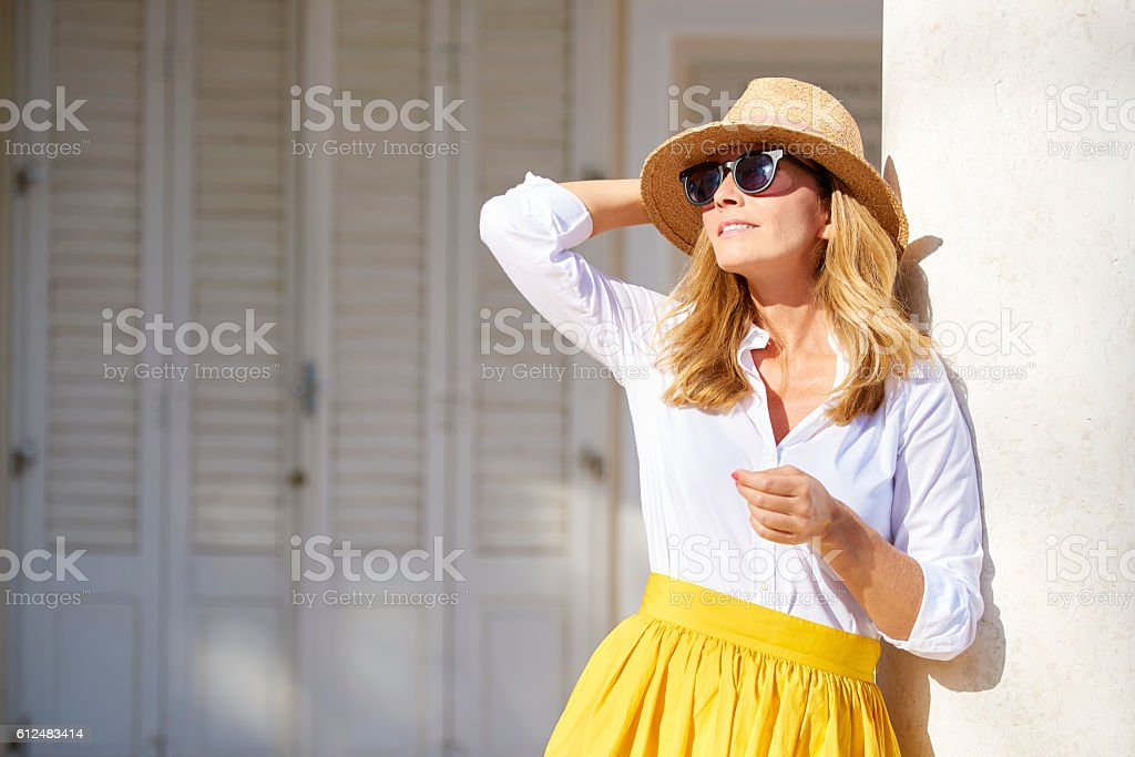 Enjoying sunshine outdoor stock photo