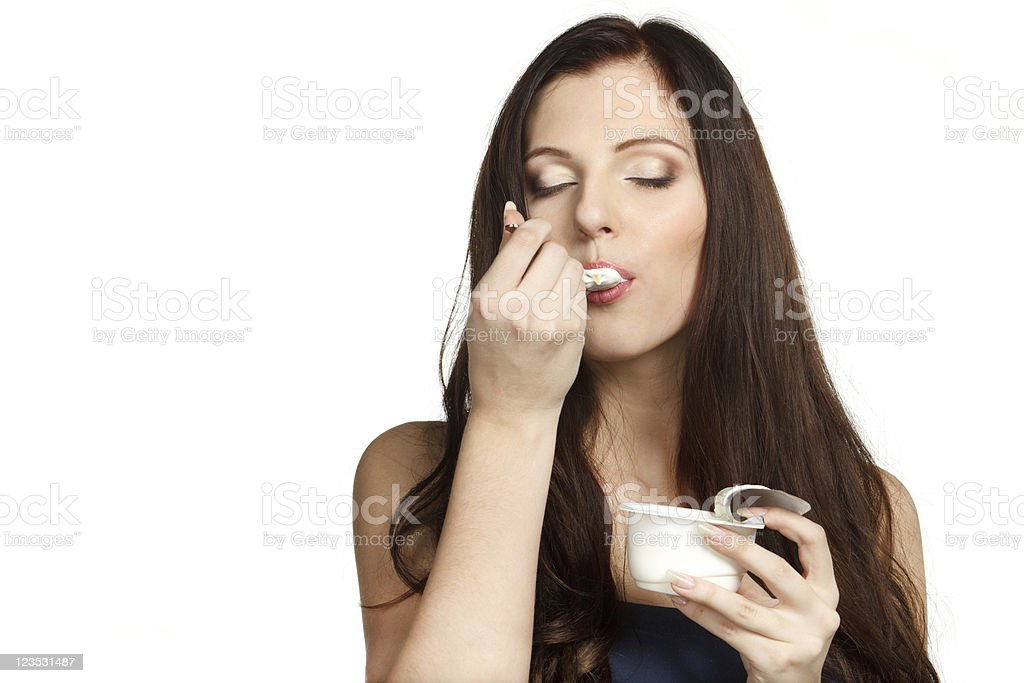 Enjoying taste of yogurt royalty-free stock photo