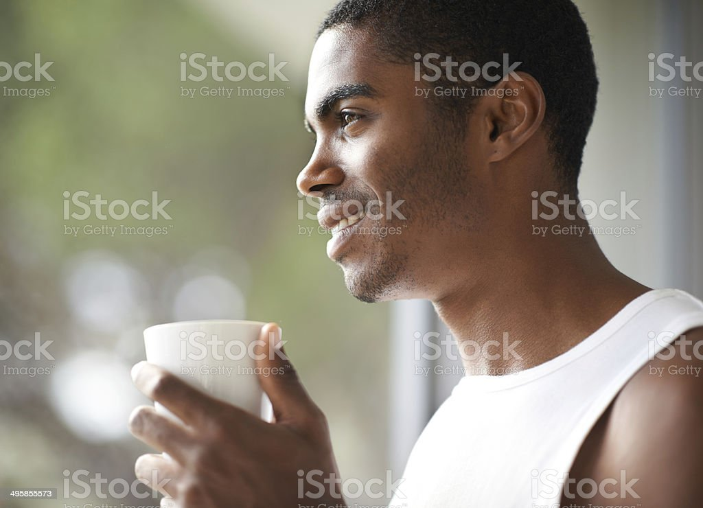 Enjoying that first sip in the morning stock photo