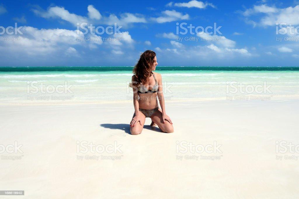 Enjoying the beautiful beach stock photo