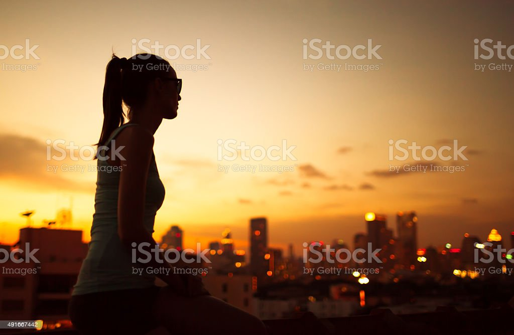 Enjoying the beautiful city views stock photo