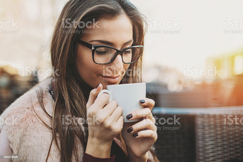 Enjoying the coffee aroma stock photo