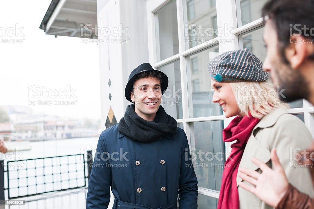 Enjoying The Conversation stock photo