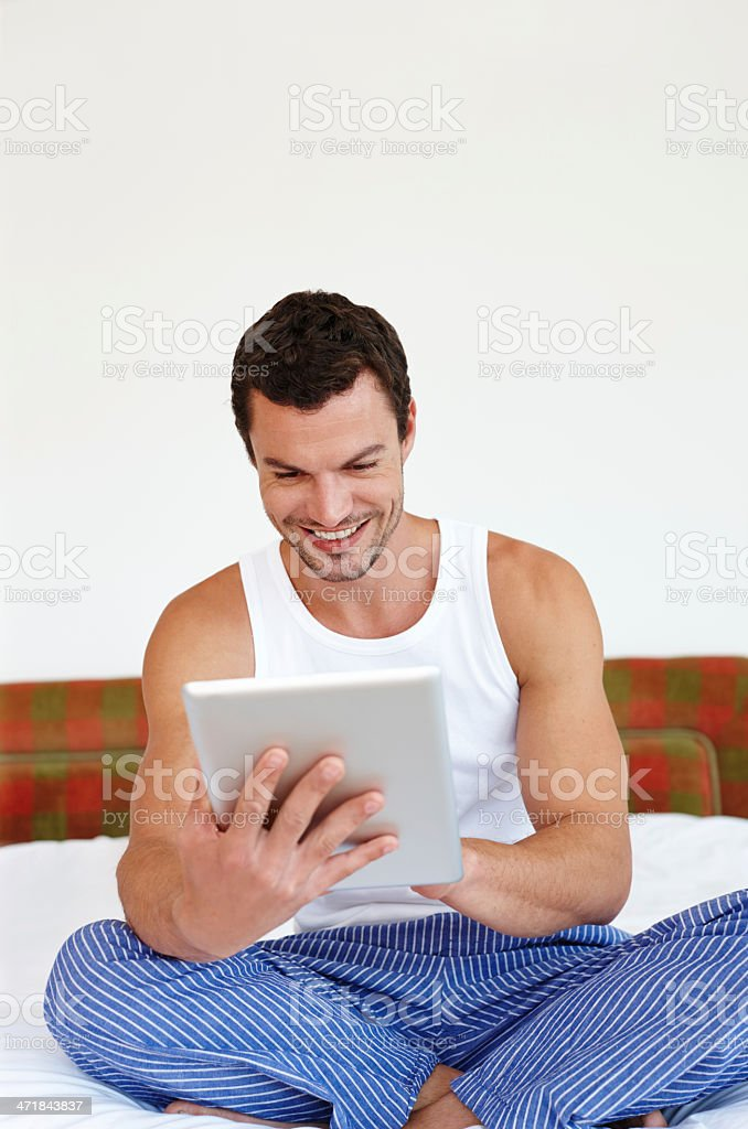 Enjoying the ease of touch technology royalty-free stock photo