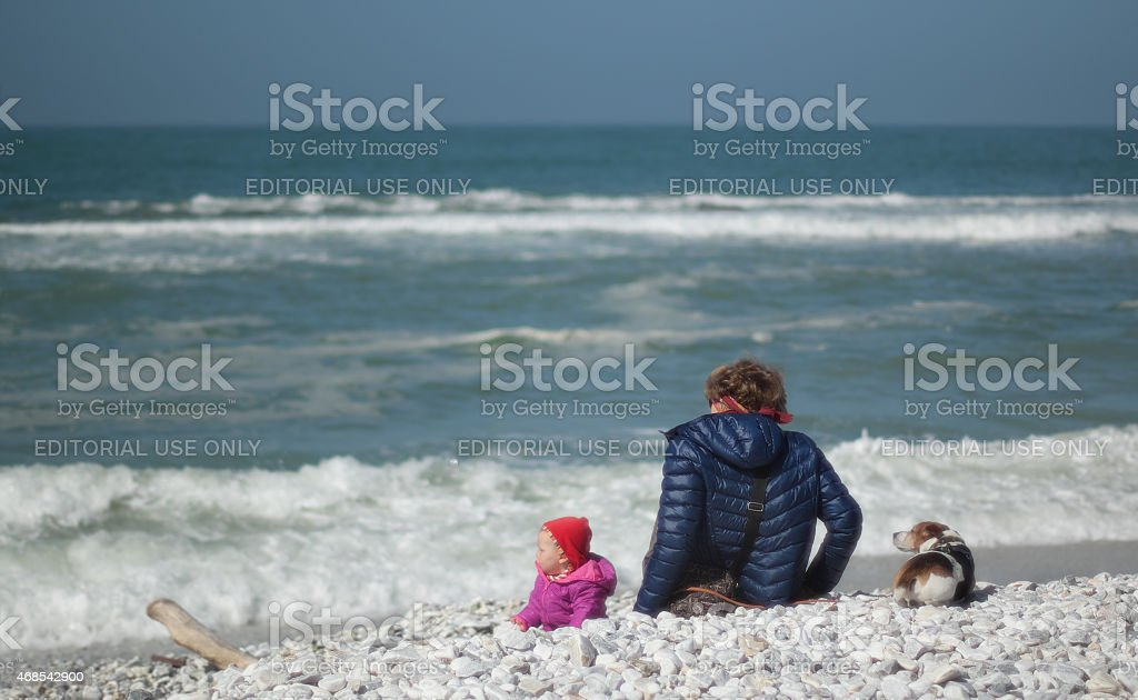 Enjoying the first days of Spring ath the beach stock photo