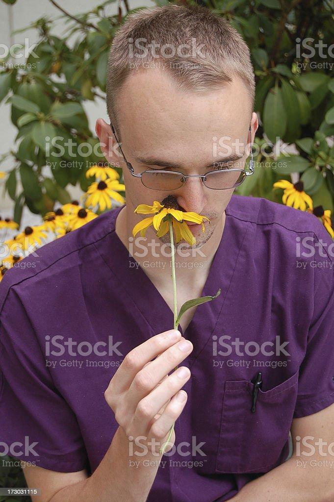 Enjoying the Flowers royalty-free stock photo