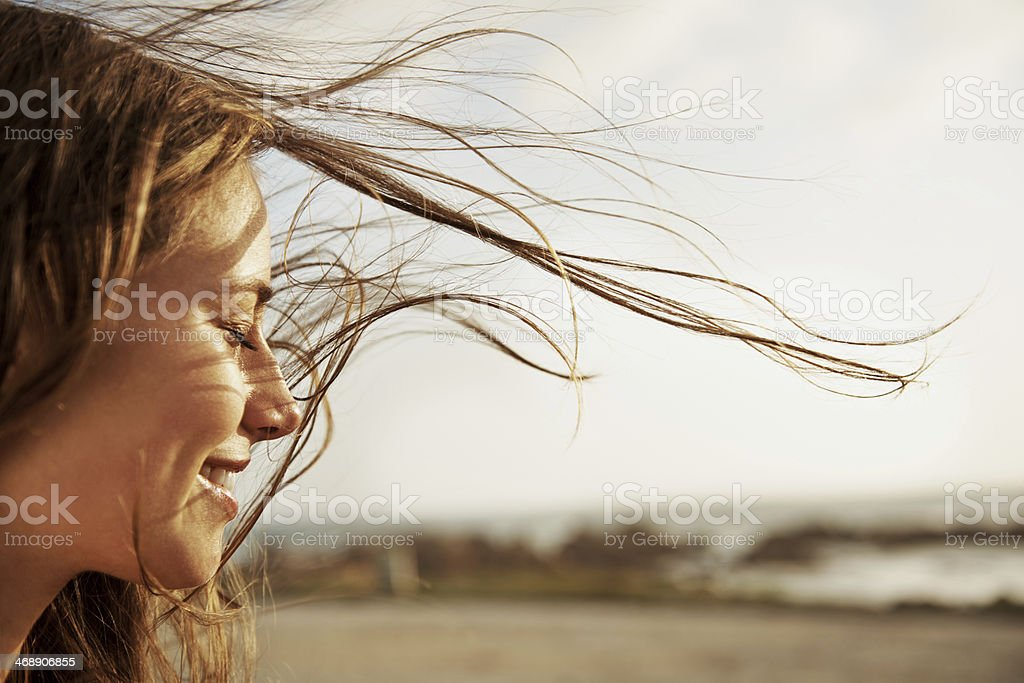 Enjoying the fresh sea air stock photo