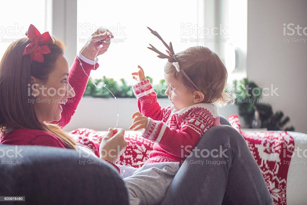 Enjoying the holidays at home stock photo