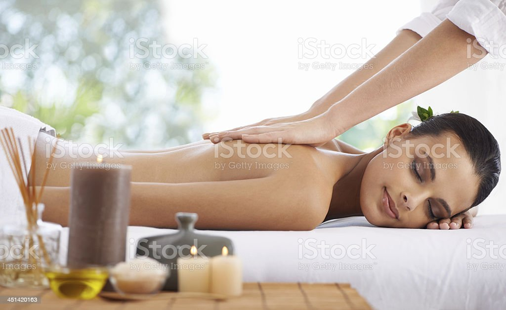 Enjoying the luxury of total spa relaxation stock photo