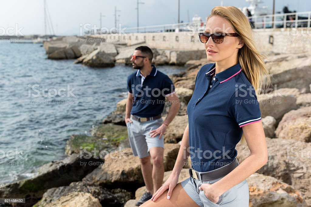 Enjoying the Mediterranean sea stock photo
