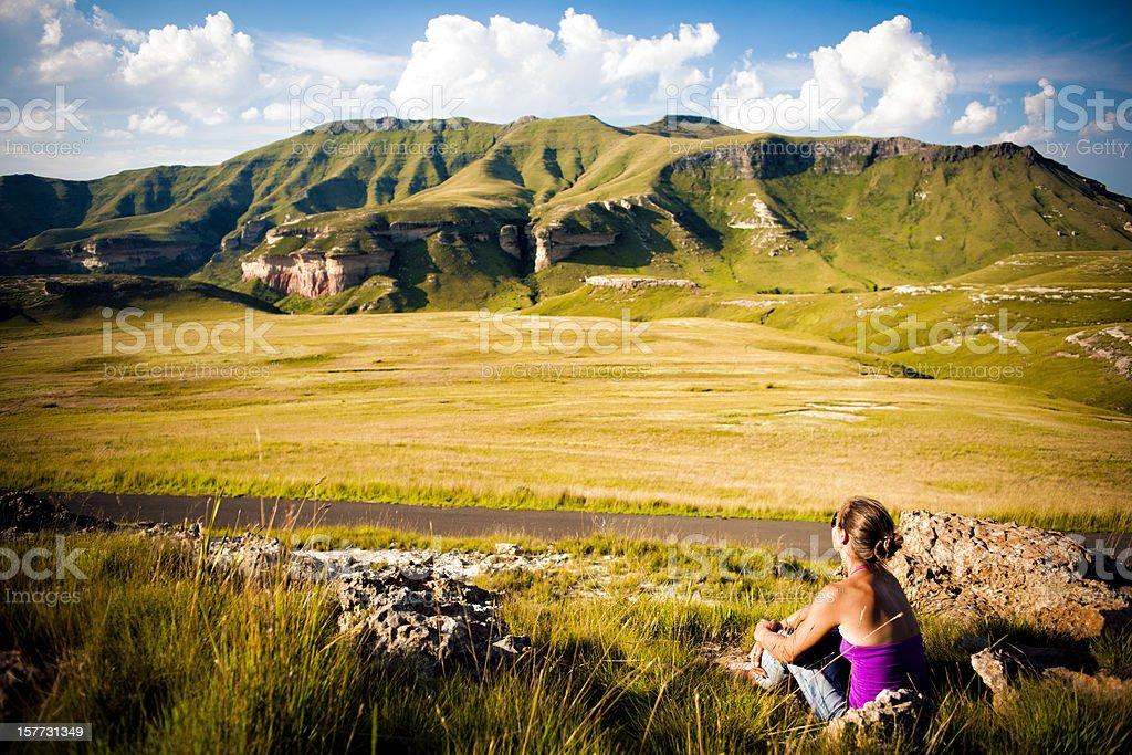 Enjoying the Mountain landscape stock photo