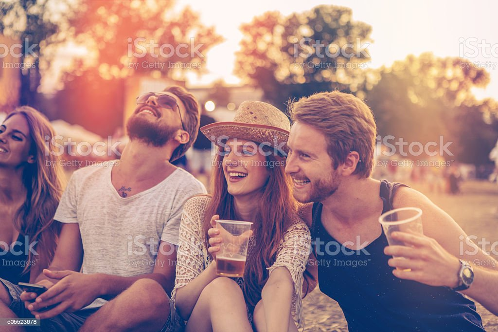 Enjoying the music festival stock photo
