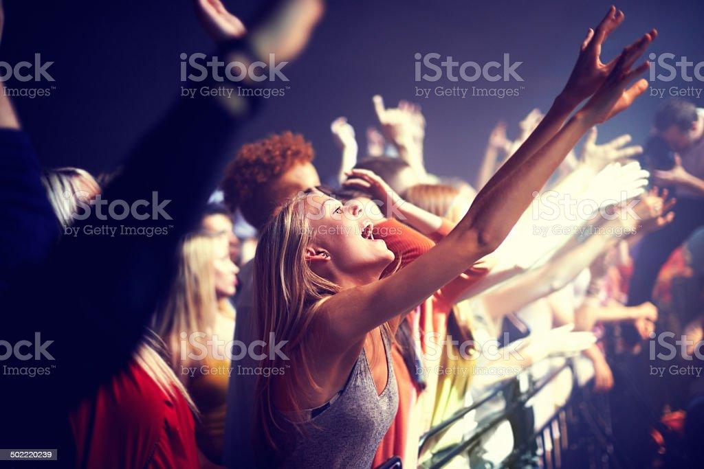 Enjoying the music stock photo