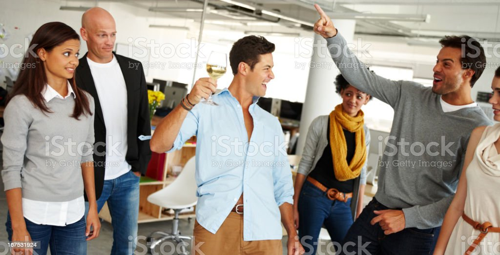 Enjoying the office party royalty-free stock photo