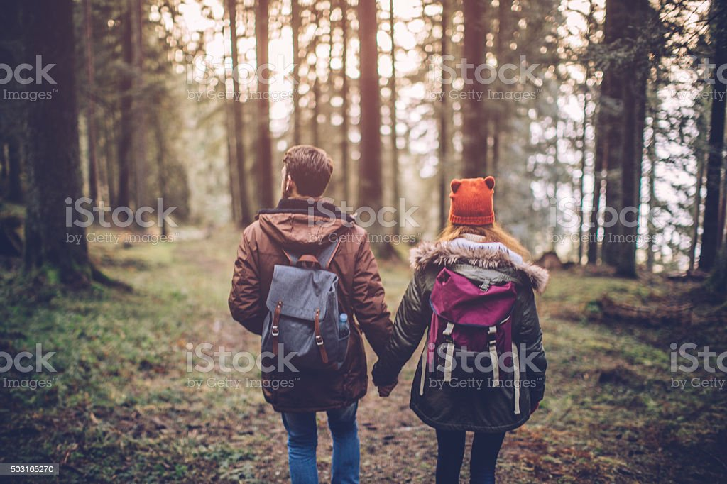Enjoying the outdoors together stock photo