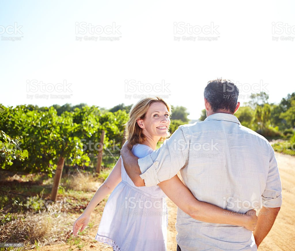Enjoying the perfect date! stock photo