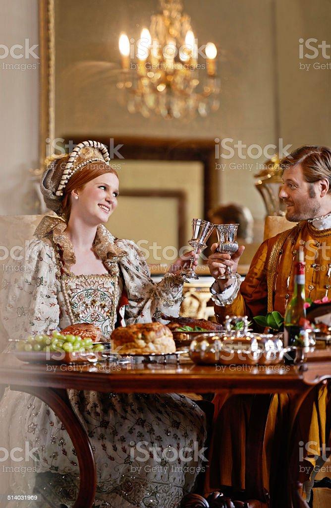 Enjoying the perks of royal birth stock photo