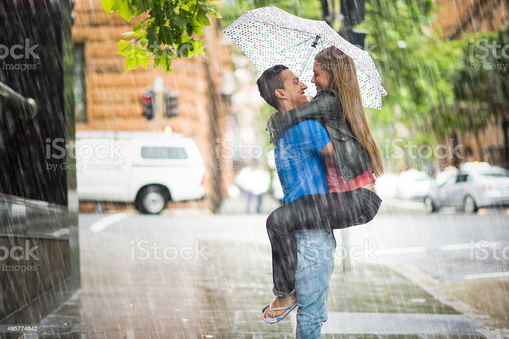Enjoying the rain stock photo