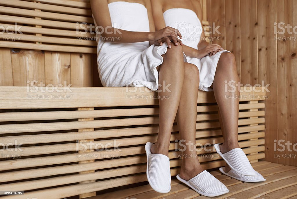 Enjoying the sauna stock photo