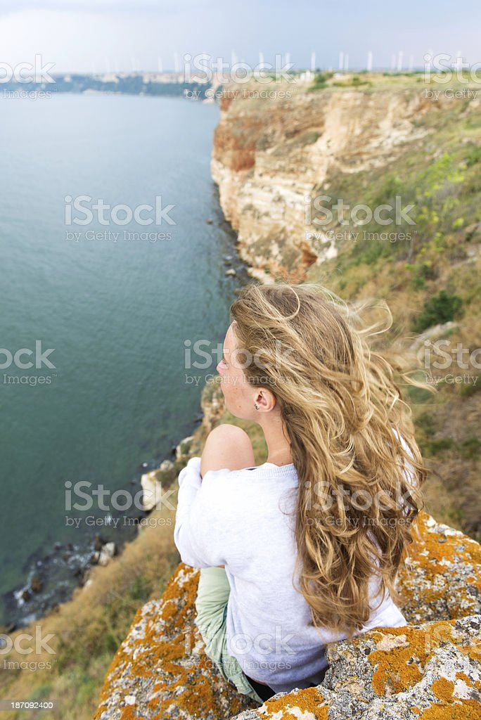 Enjoying the sea royalty-free stock photo