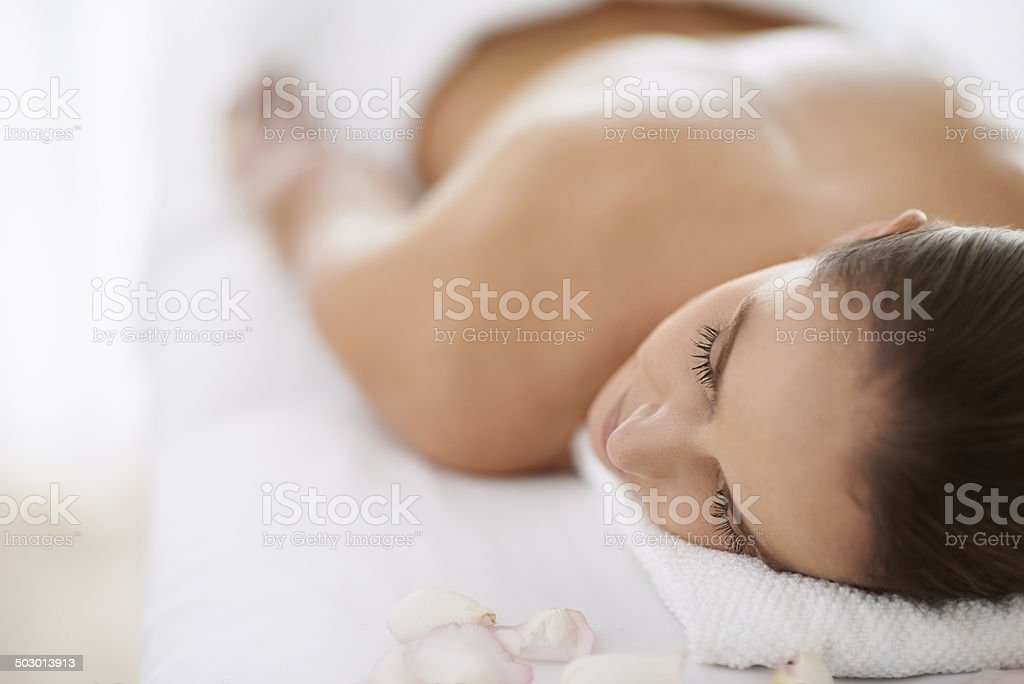 Enjoying the serenity of the spa stock photo