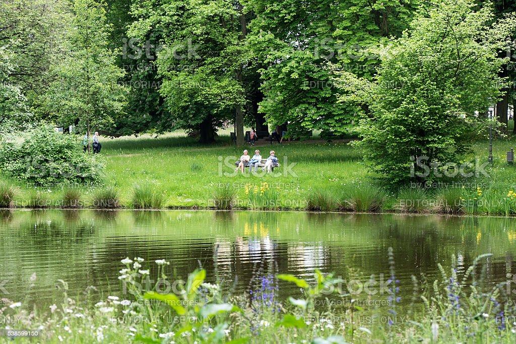 Enjoying the spring in the Kurpark Bad Homburg stock photo