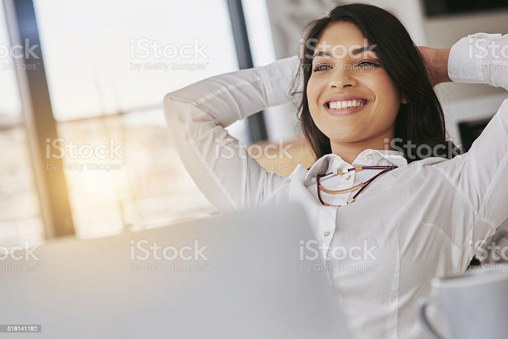 Enjoying the success she's achieved stock photo